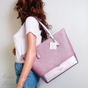 NWT Kate Spade Lola Glitter Tote in Rose Pink